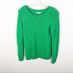 Gap Boatneck Cable Knit Sweater Lush Green Soft M